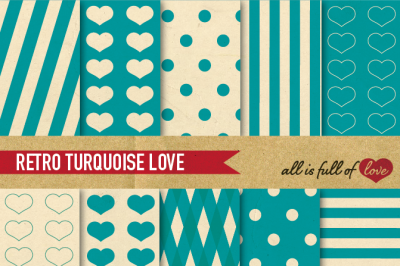 Vintage Backgrounds in Turquoise Green Digital Paper Pack Teal Retro Patterns