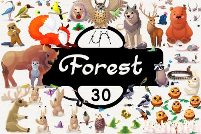vector set cartoon animals of Forest