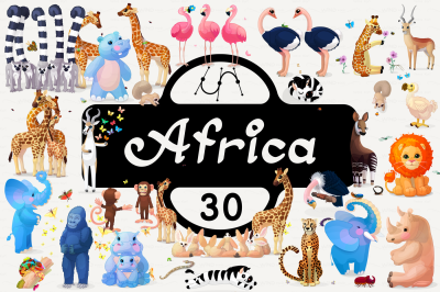 vector set animals of Africa