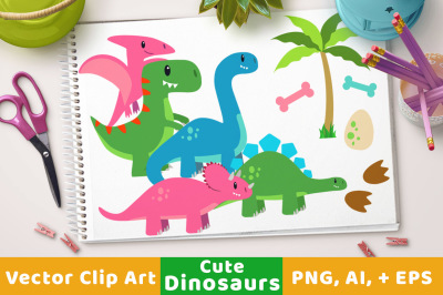 Cute Dinosaur Clipart, Dino Clipart, T-Rex Clipart, Prehistoric Clipart, Dinosaur Party, Triceratops Clipart