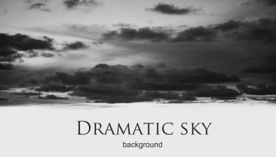 black and white dramatic night sky with clouds