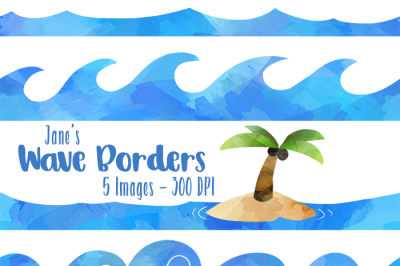 Watercolor Wave Borders Clipart