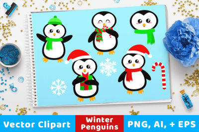 Holiday Penguins Clipart, Christmas Clipart, Holiday Clipart, Animal Clipart, Scarf Penguins, Cute Penguin