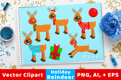 Holiday Reindeer Clipart, Rudolph Clipart, Christmas Clipart, Holiday Clipart, Winter Clipart, Cute Animal Clipart, Flying Reindeer Vectors
