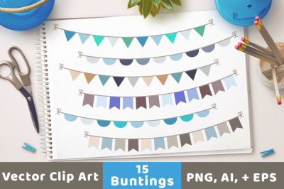 Winter Bunting Clipart, Winter Clipart, Garland Clipart, Banner Clipart, Bunting Triangle, Bunting Flag
