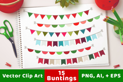 Christmas Bunting Clipart, Christmas Clipart, Holiday Bunting, Holiday Clipart, Banner Clipart