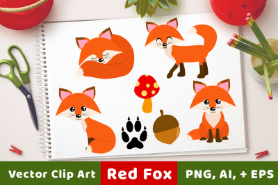 Red Foxes Clipart, Forest Animals, Cute Fox Clipart, Winter Clipart, Fall Clipart, Fox Graphics, Animal Clipart