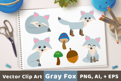 Gray Foxes Clipart, Silver Fox Clipart, Cute Fox Clipart, Winter Clipart, Animal Clipart, Christmas Clipart