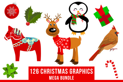 126 Christmas Clipart Mega Bundle, Winter Clipart, Holiday Clipart, Animal Clipart, Reindeer Clipart, Penguins