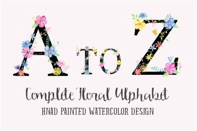 Watercolor Floral Alphabet Black