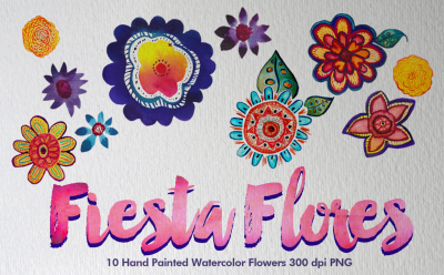 Fiesta Flores 10 Hand Painted Watercolor Flowers 300 dpi PNG
