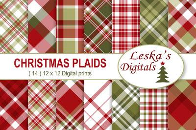 Christmas Plaids Digital Paper