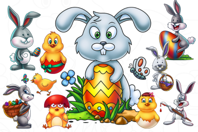 Easter Cartoon Characters Bundle