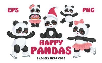 Happy Pandas. Vector clip arts