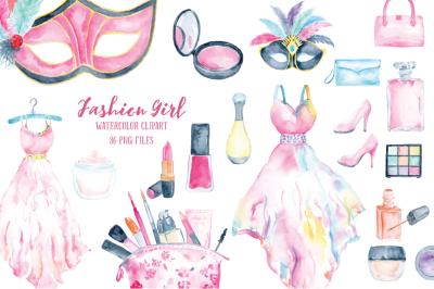Watercolor Clipart Fashion Girl