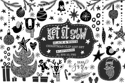 Black & White Christmas Clip-Art and Lettering Set