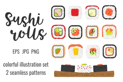 Set and seamless patterns of yummy sushi rolls