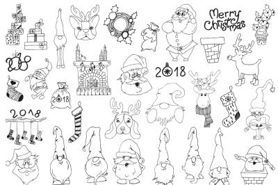 Merry ChristmasHand drawn decorations Set