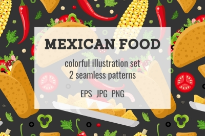 Mexican food set and seamless patterns