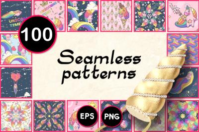 vector BIG seamless patterns SET unicorns