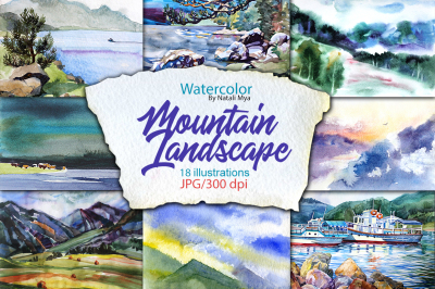 Watercolor Mountain Landscapes