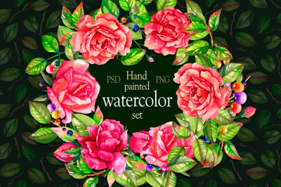 Hend-painted Watercolor rose set