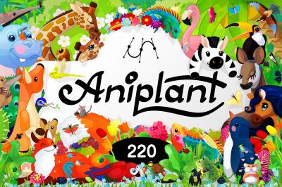 vector BIG SET. Aniplant: 220 species of animals & plants
