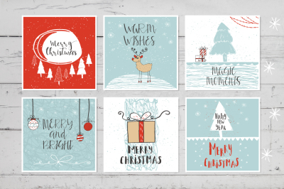 6 hand drawn Christmas cards with lettering