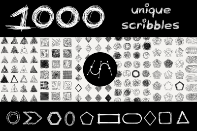 vector 1000 geometric scribbles