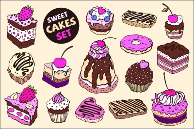 Sweet cakes set.