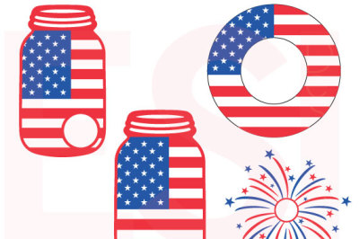 Mason Jar American Flag Designs - SVG, DXF, EPS.