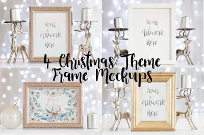 4 Silver Christmas Frame Mockups