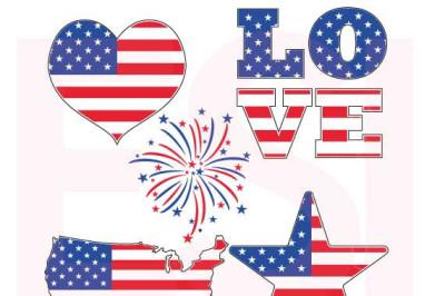 Patriotic American Flag Design Set - SVG, DXF, EPS