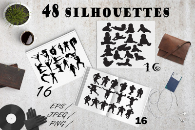 Set of 46 people silhouettes