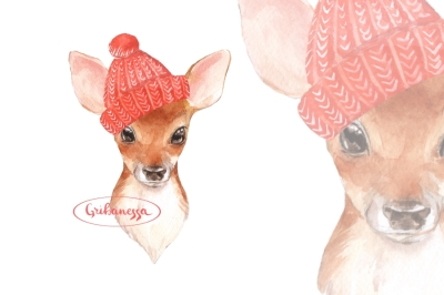 Fawn in red hat