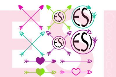 Arrow Monogram Design Set - SVG, PNG, DXF, EPS