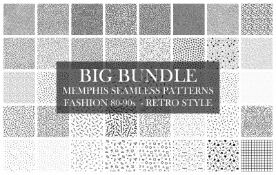 Bundle of Memphis seamless patterns