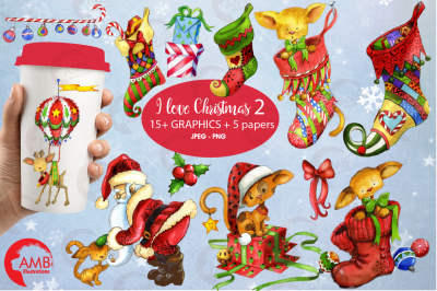 Christmas Bundle No. 2, clipart, papers, graphics AMB-1674