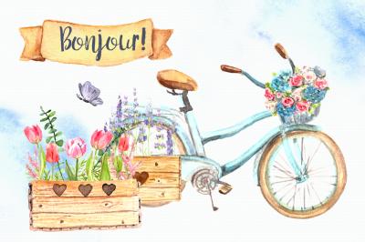 Bonjour! - Watercolor Clip Art Set