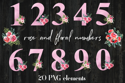 Rose Foil And Floral Numbers