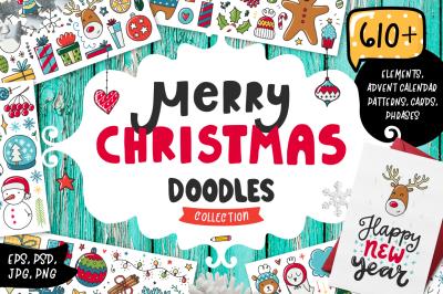 610+ Christmas Doodles - Clipart Set