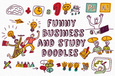 Funny business and study doodles set