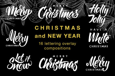 Christmas and New Year letterings set
