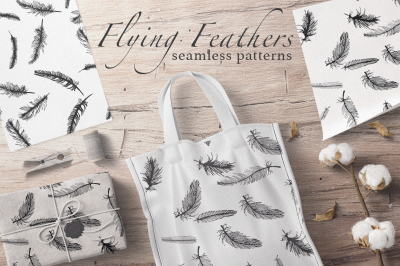 Flying Feathers seamless patterns