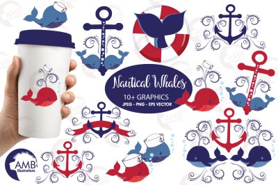 Nautical Whales clipart, graphics, illustrations AMB-926
