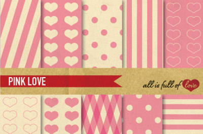 Vintage Backgrounds in Pale Pink: Love Collection digital background