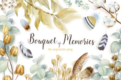 Bouquet of memories. Watercolor clipart