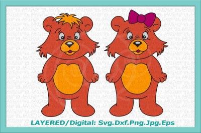 bear svg, cute bear svg, cute bear clipart, bear boy, bear girl, svg, bear with bow svg, bear iron on, printable bear, bear set boy and girl