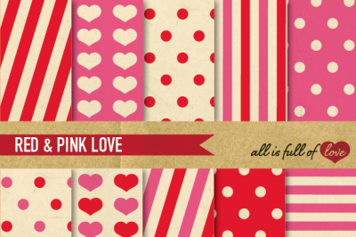 Vintage Backgrounds in Pink & Red: Love Collection