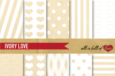 Vintage Backgrounds in Ivory White: Love Collection